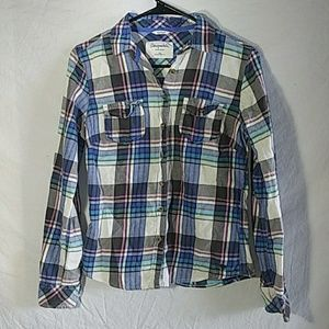 Aeropostale 87 pink blue plaid button up sz Medium
